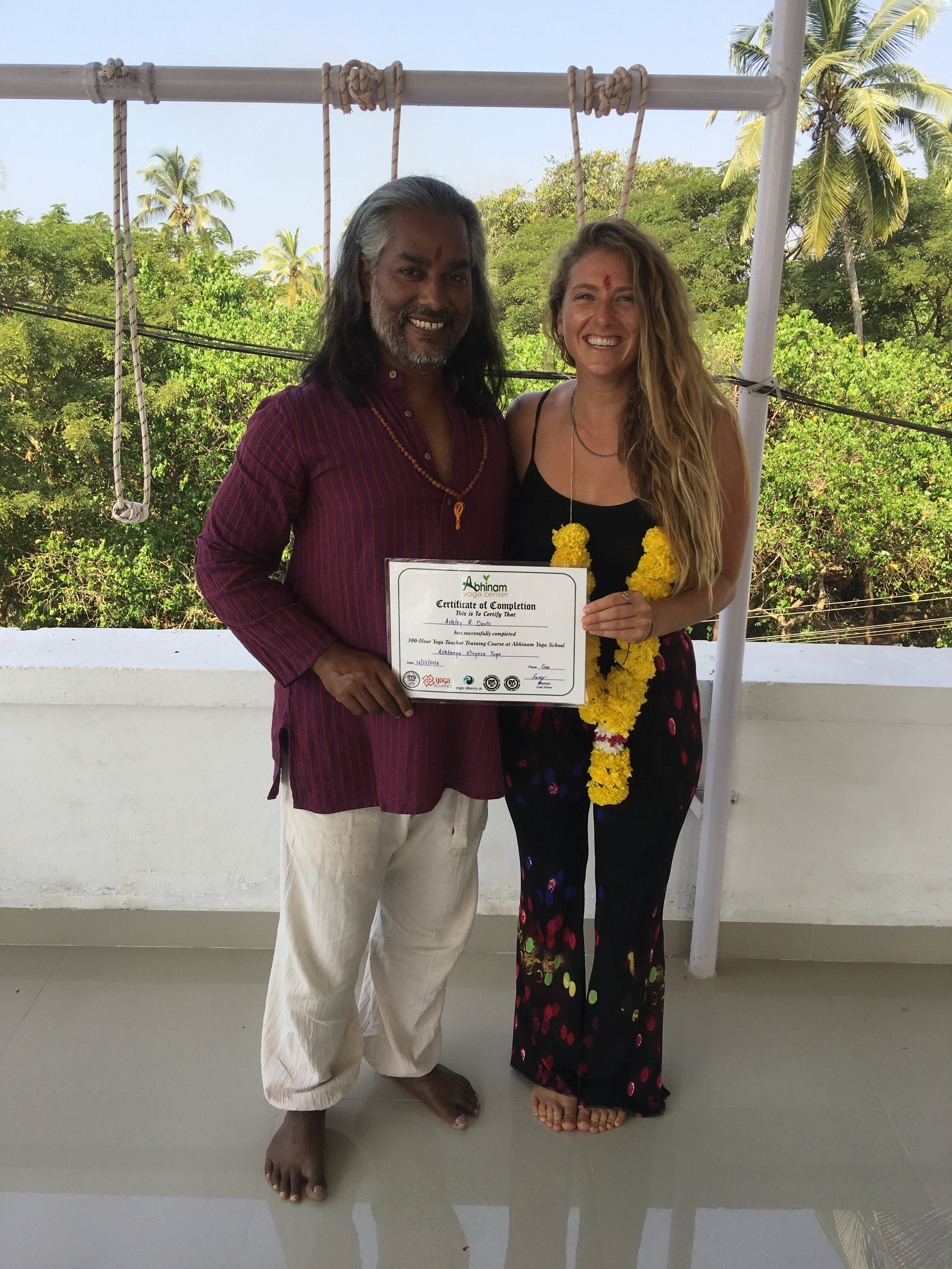 After completing my 500 HR YTT in India with Abhinam Yoga School with my teacher Yog Namito