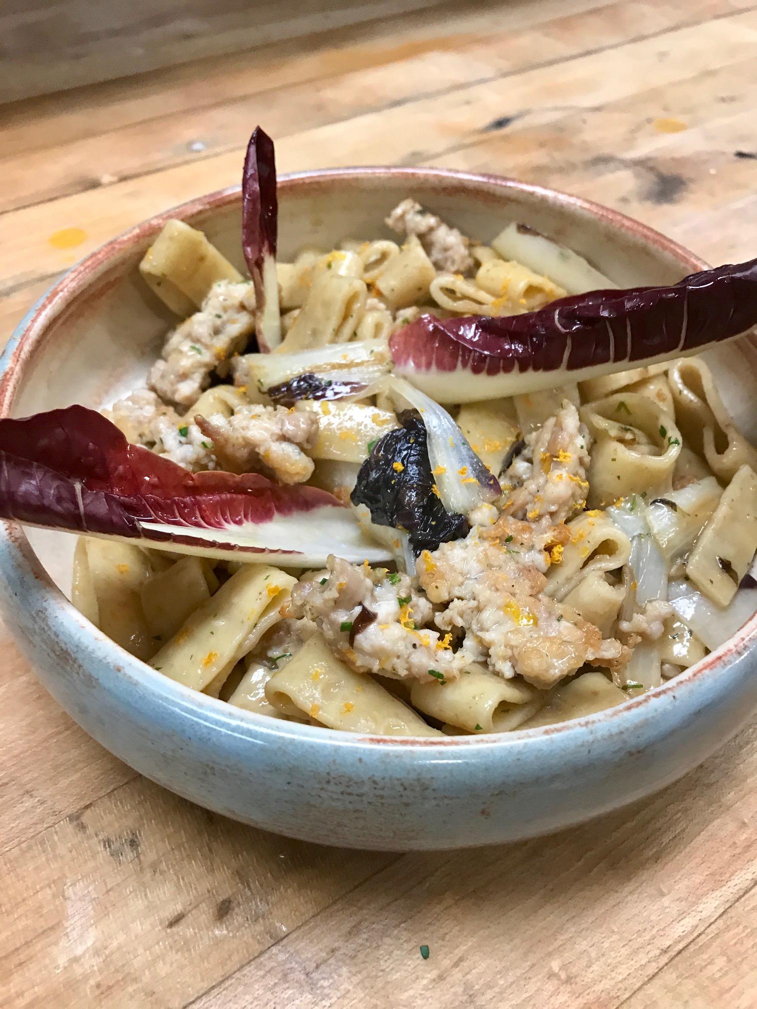 rye pasta with chicken sausage and radicchio.jpg
