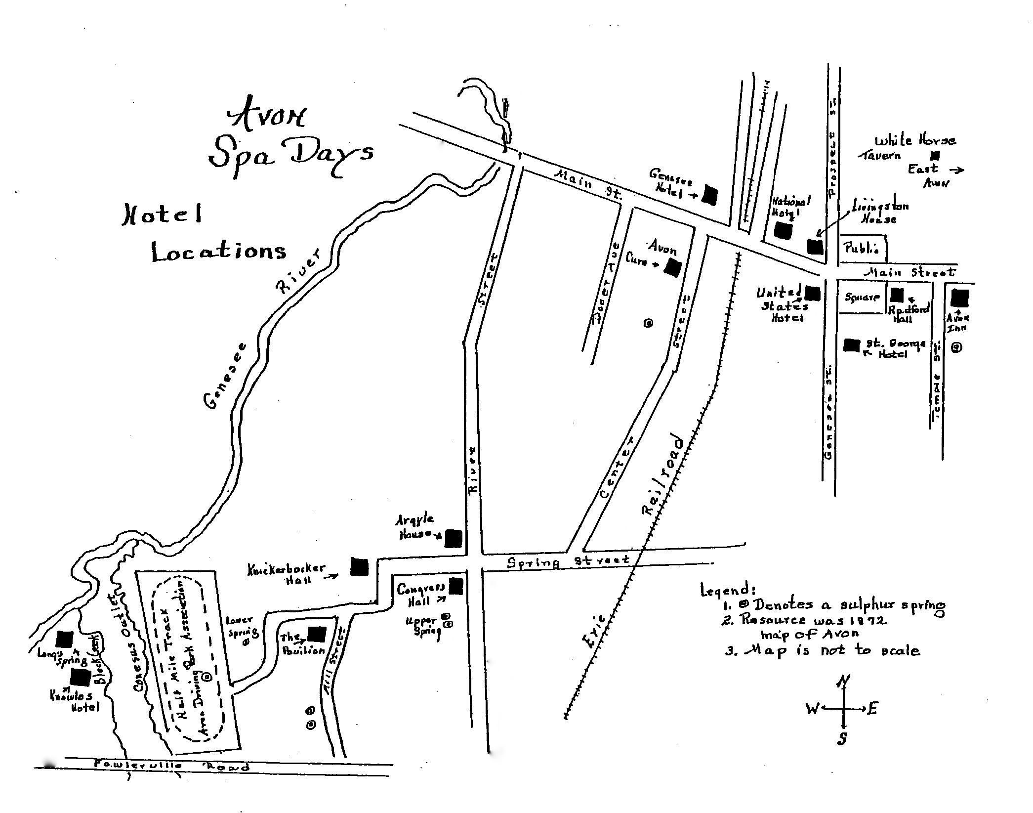 Spa Map. Source: Avon Town Historian