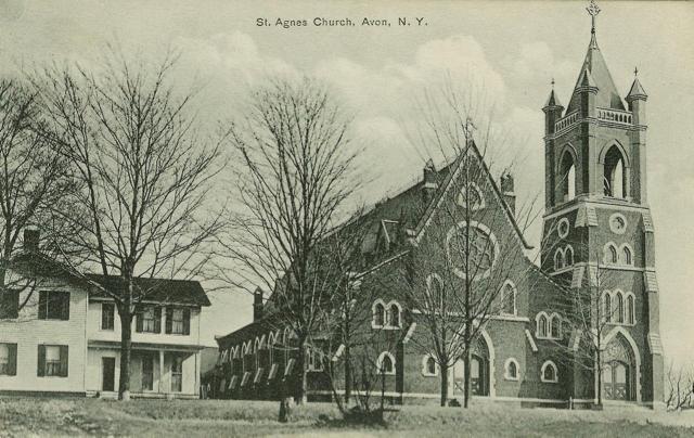 St. Agnes Church built in 1869. Postcard. AP&HS collection