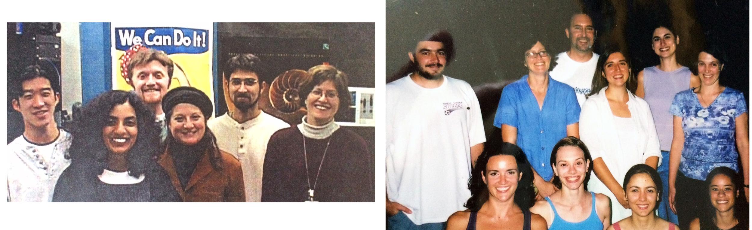 LEFT: 1999 (NIH), Bryan Hwang, Rukki, Rick, Peg Coulombe, Josh and Marla; RIGHT: 2003 (UCSD) BACK: Tim, Marla, Michael, Christine, Kristi Hansen, Sally. FRONT: Jenel Bosze, Gianna Muir-Robinson, Ninaz Shiva, Angel Jimenez