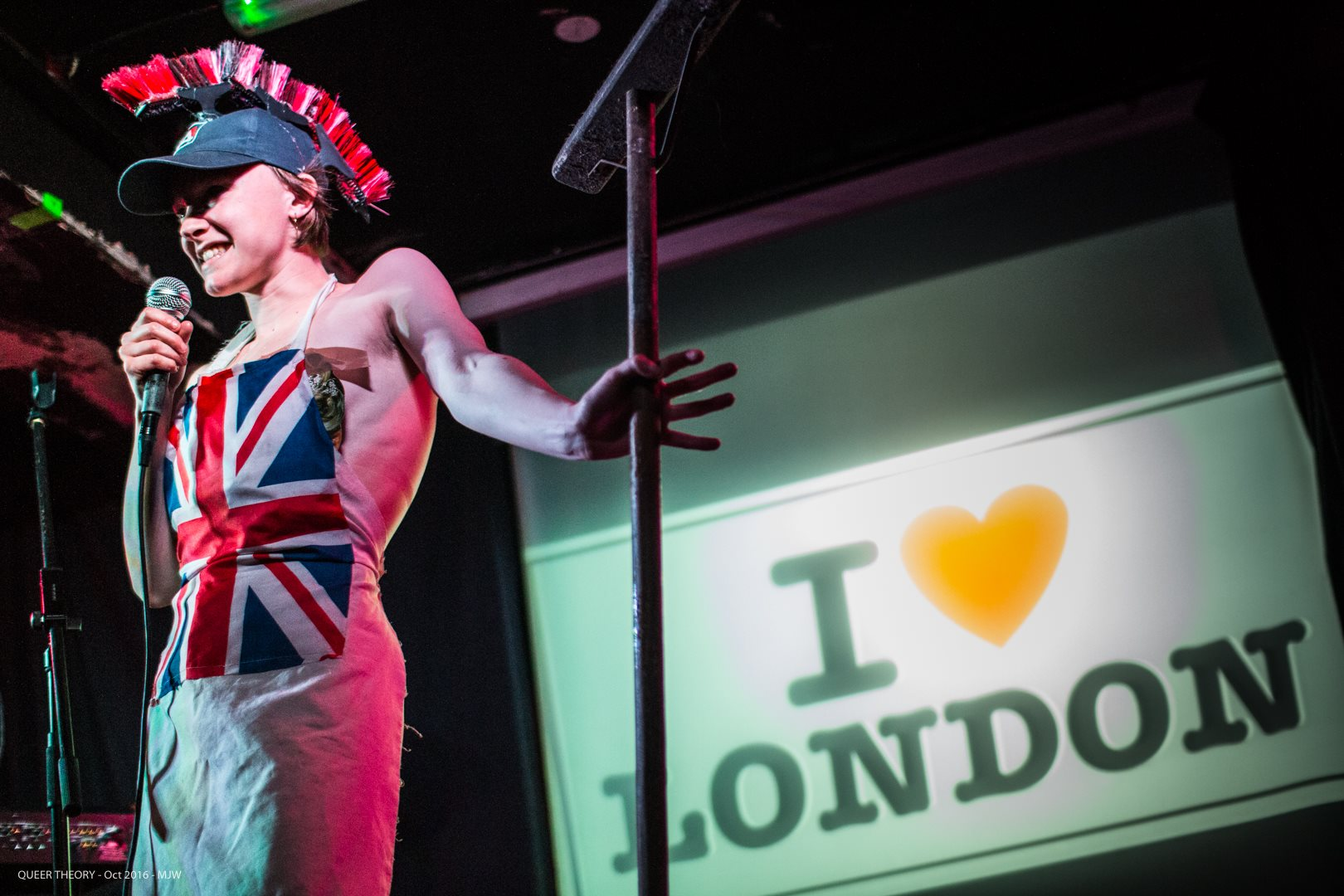 RULE BRITANNIA!     A crude performance persona for club spaces, exploring British arrogance/ignorance and how we deal with colonialist stolen artefacts presented in national museums.      Performances: Queer Theory, Glasgow 2016 and The Rich Mix 2016.