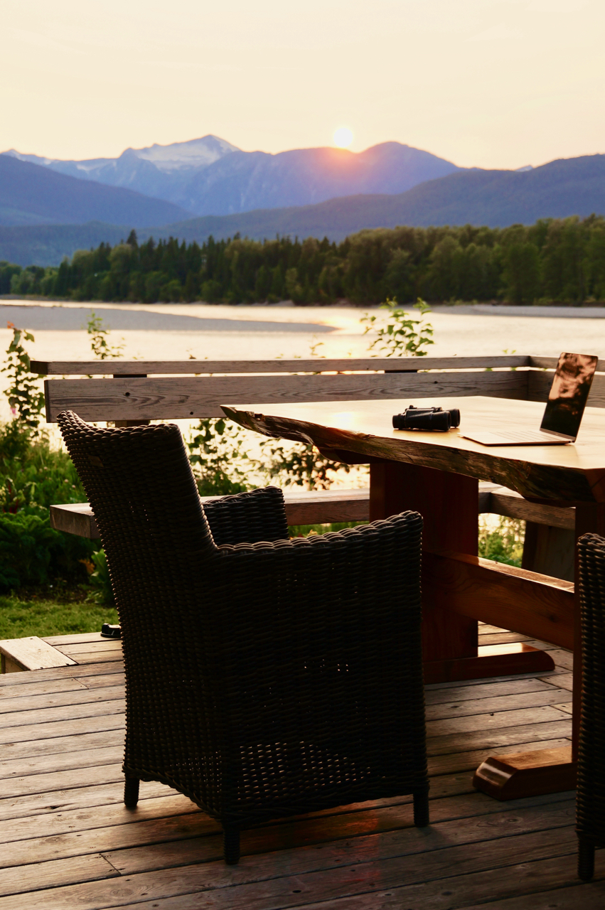 Skeena River House sunset view