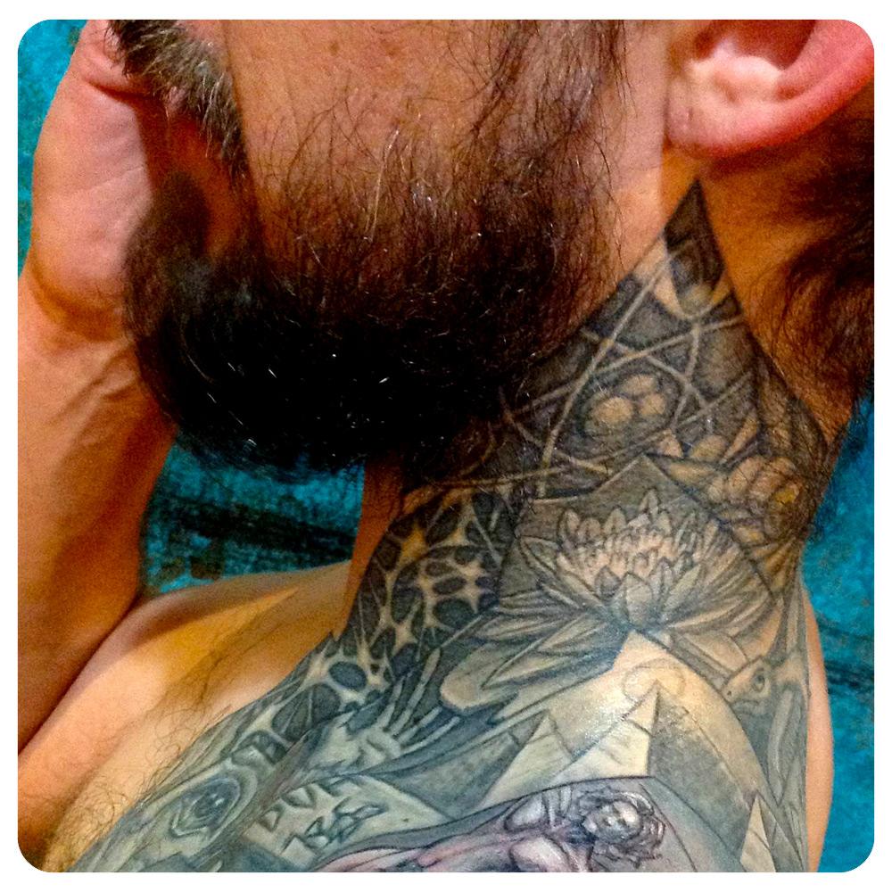 Neck portion of the origin story wrap-around timeline. | In-Progress Tattoo by Shane Acuff