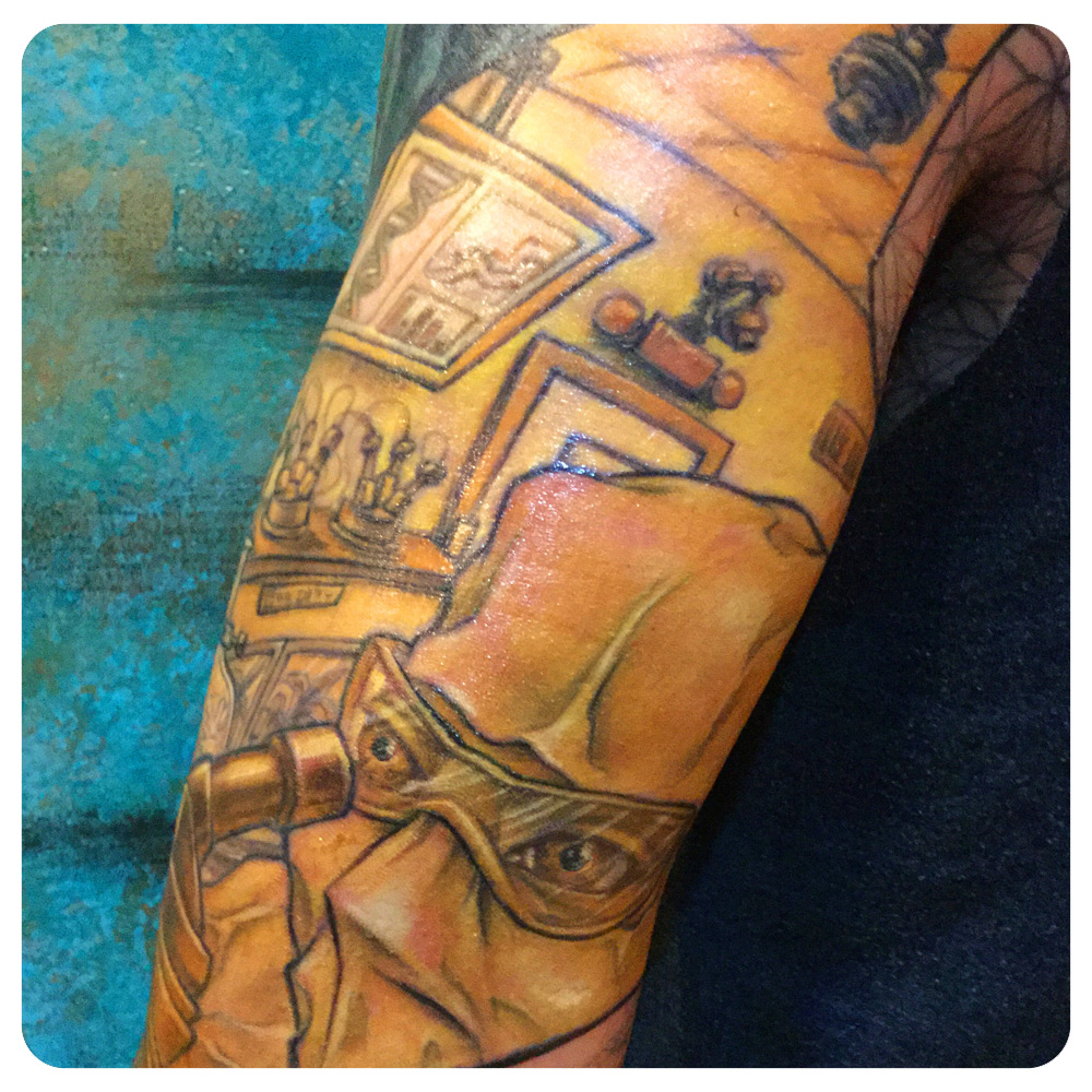 Middle arm portion of the Ishmael arm sleeve. The yellow represents the un-sustainability of The Takers (i.e; the current generations who abuse The Earth) | In-Progress Tattoo by Shane Acuff