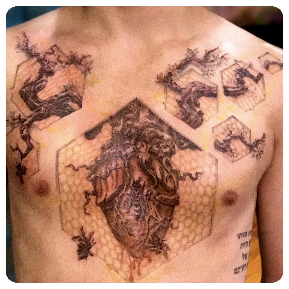 portfolio_2017_tattoo_chest_geometric-illustrative_beehive-tree-honeycomb-pattern.jpg