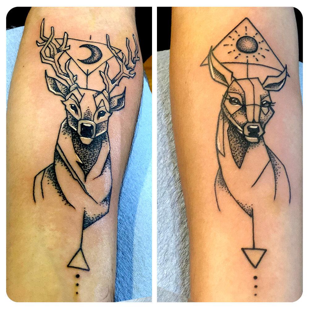 portfolio_2019_tattoo_forearm_abstract-linework-dotwork-partners_buck-doe-antlers-triangle.jpg