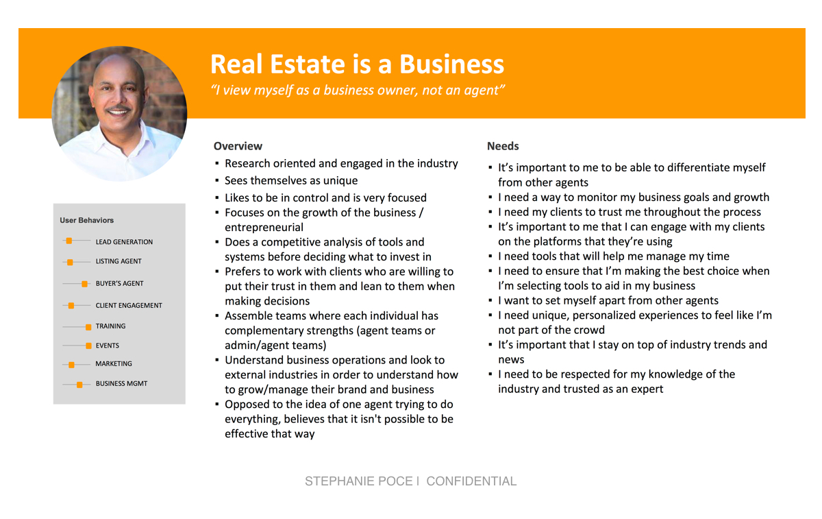 - This persona is one of four I created in the research and discovery phase of a project for a real estate sub-franchisor.