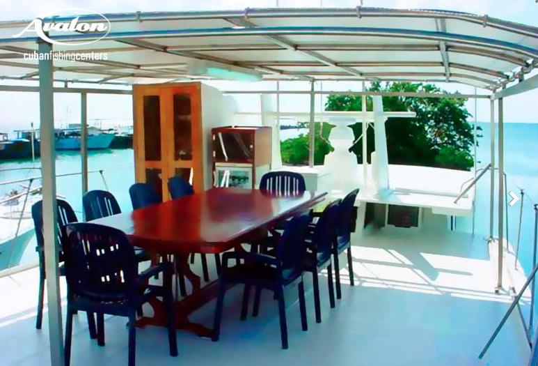 Dining area aboard La Reina