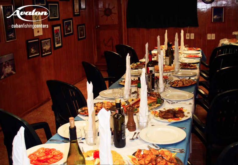 Dining area ready for hungry anglers