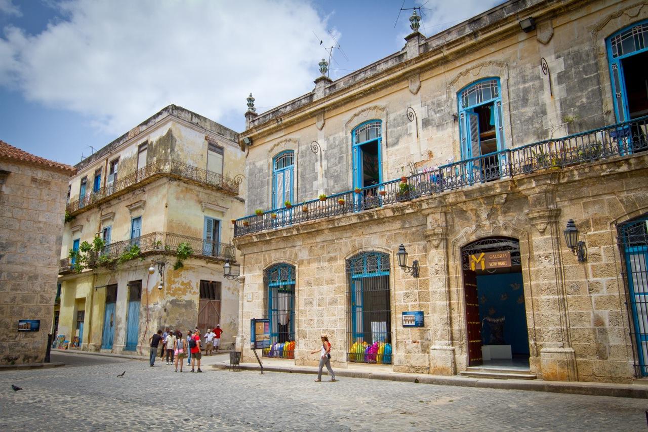 Old buildings recently restored in Old Havana, Cuba