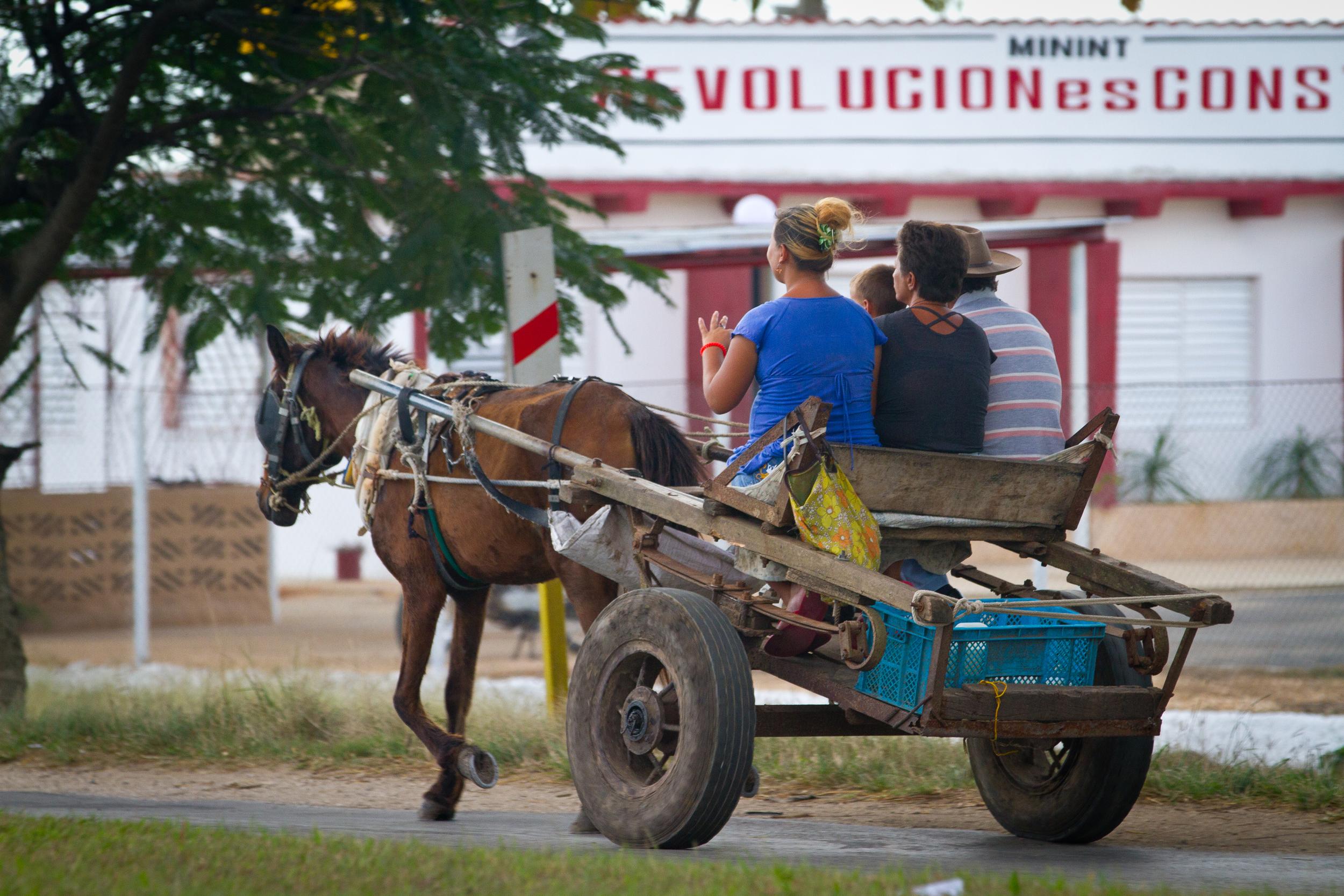 Locals using local transportation, Ciego de Avila, Cuba