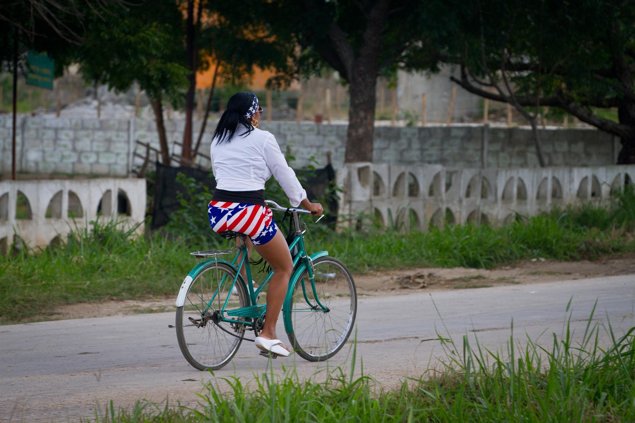 Local girl showing her love for everything American, Ciego de Avila, Cuba