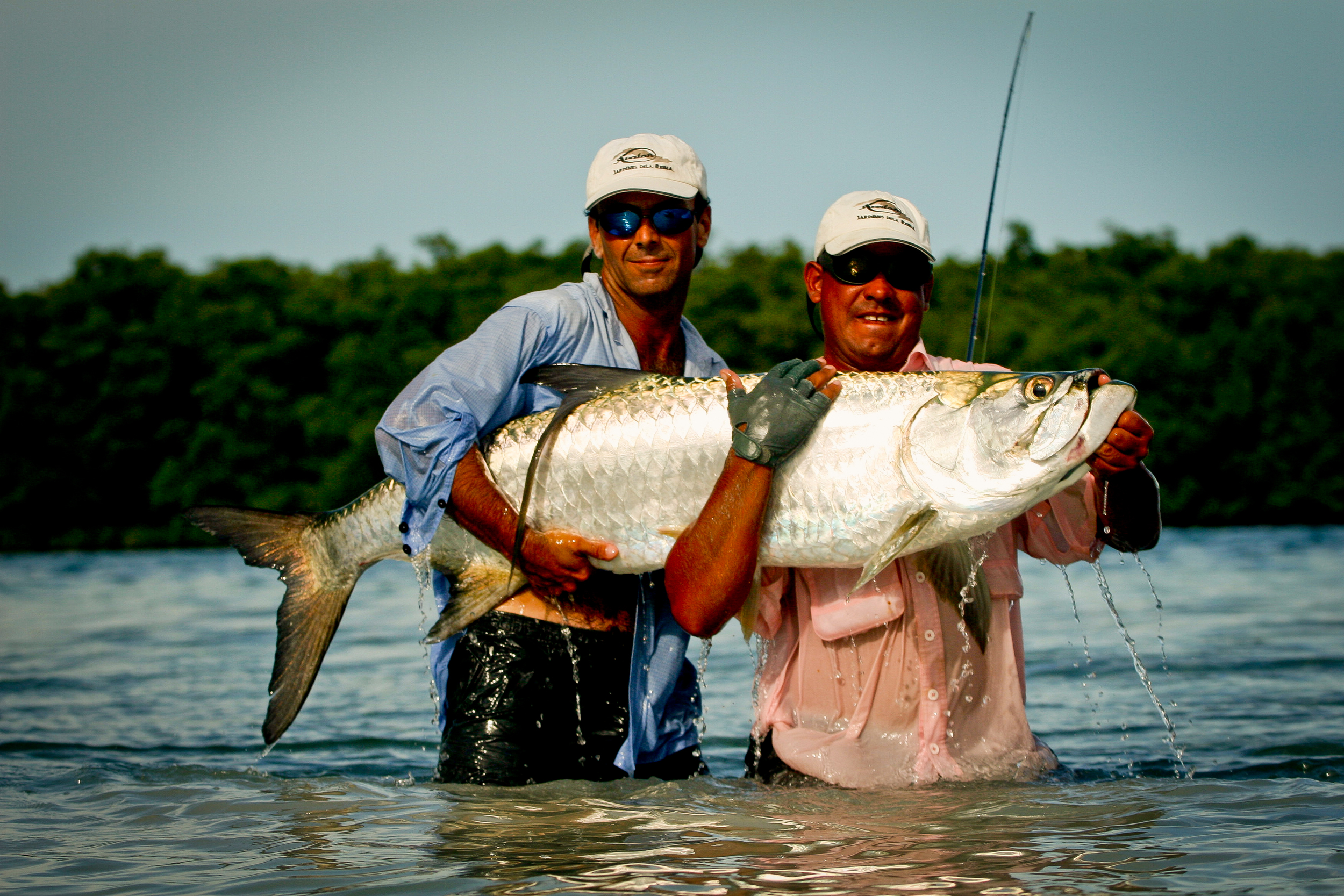 Guide and client with a great migratory Tarpon, Cuba