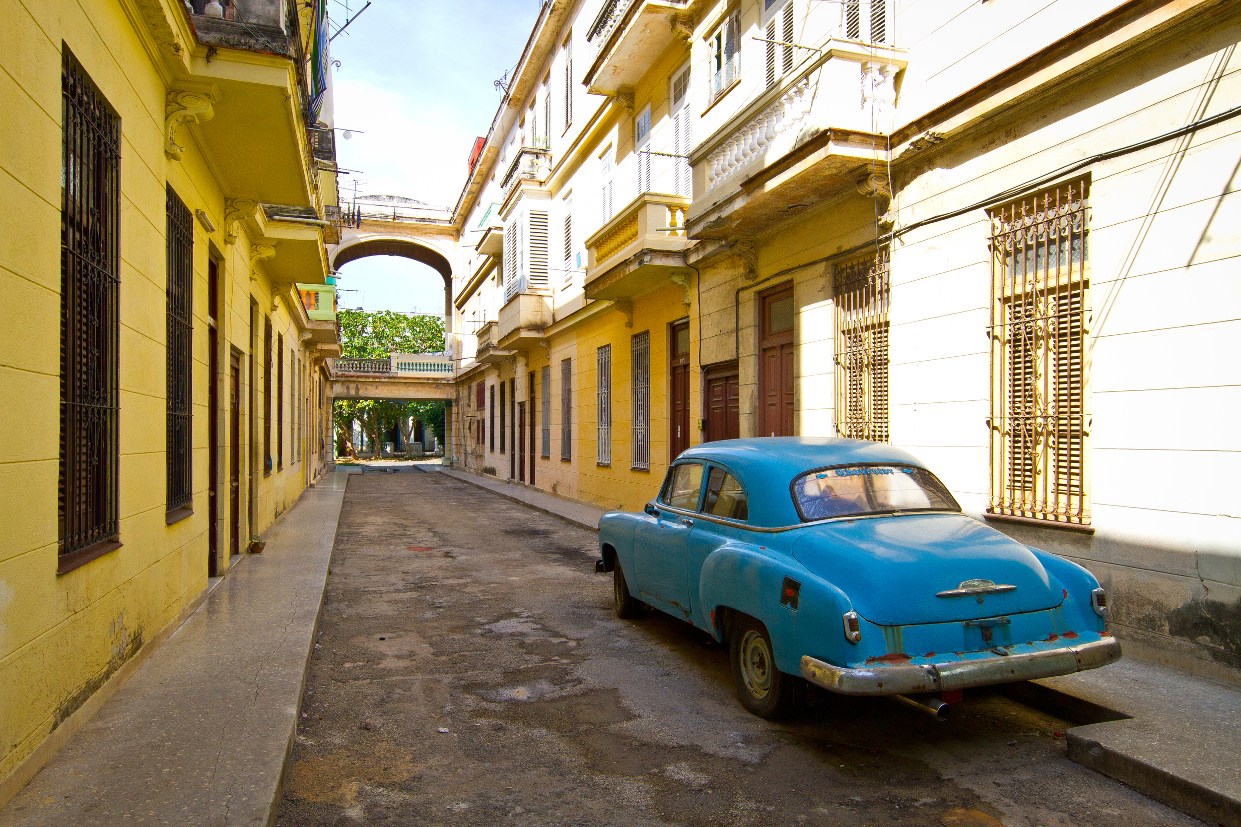Beautiful architecture, and beautiful vintage American classic, Havana Cuba