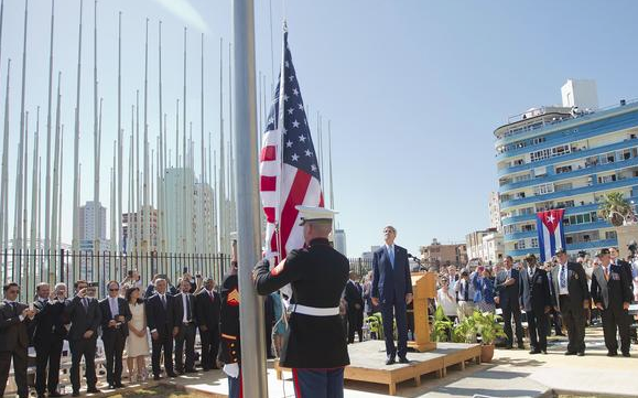 Flag about to be raised at US Embassy, Havana, Cuba
