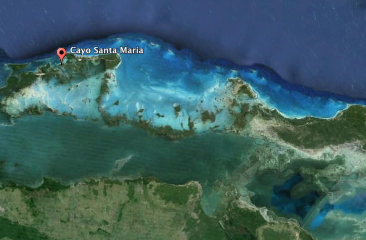 Image from Google Earth of Cayo Santa Maria and the fishing environment