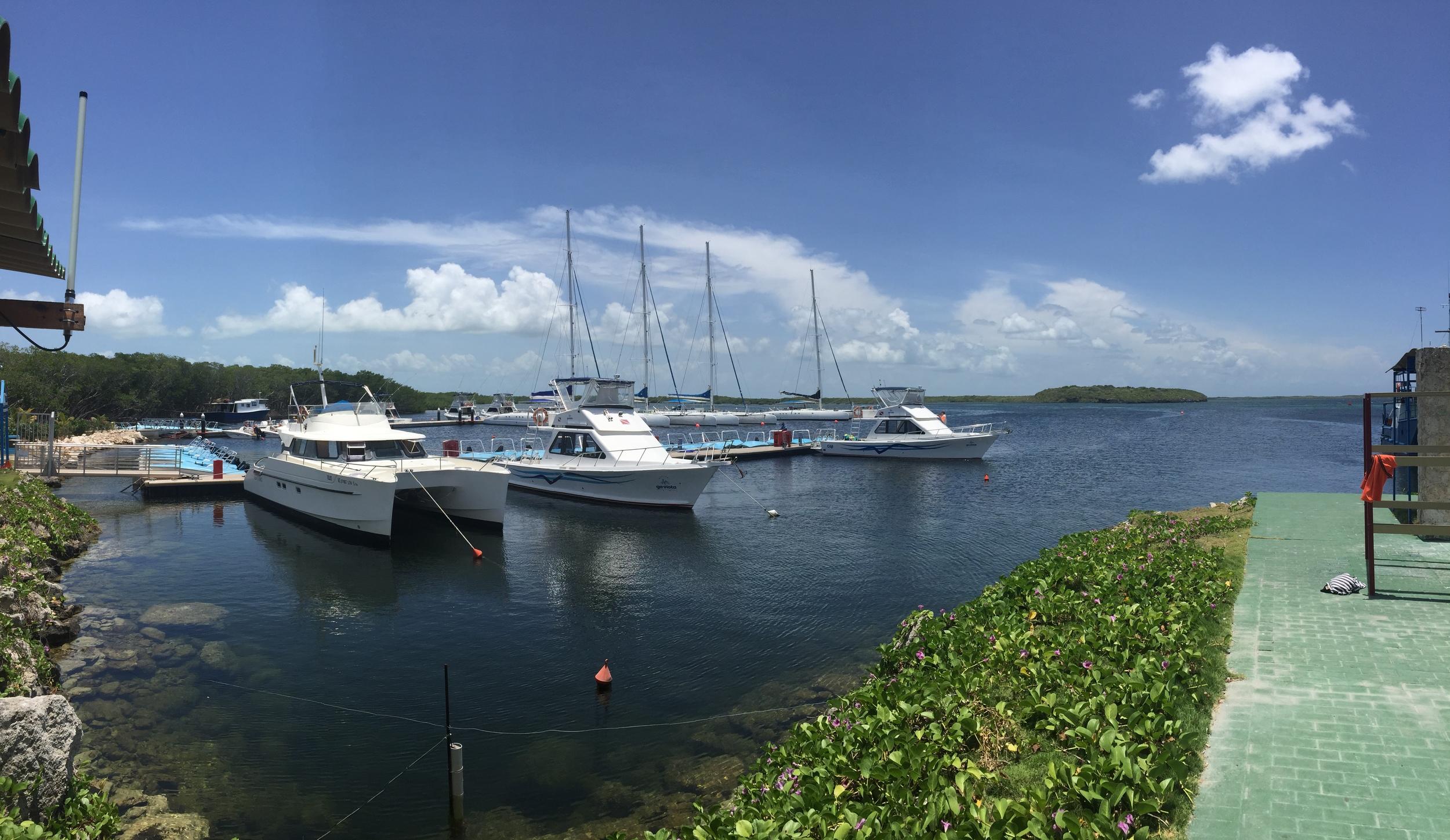 View of the marina near Villa Las Brujas, Cayo Santa Maria, Cuba