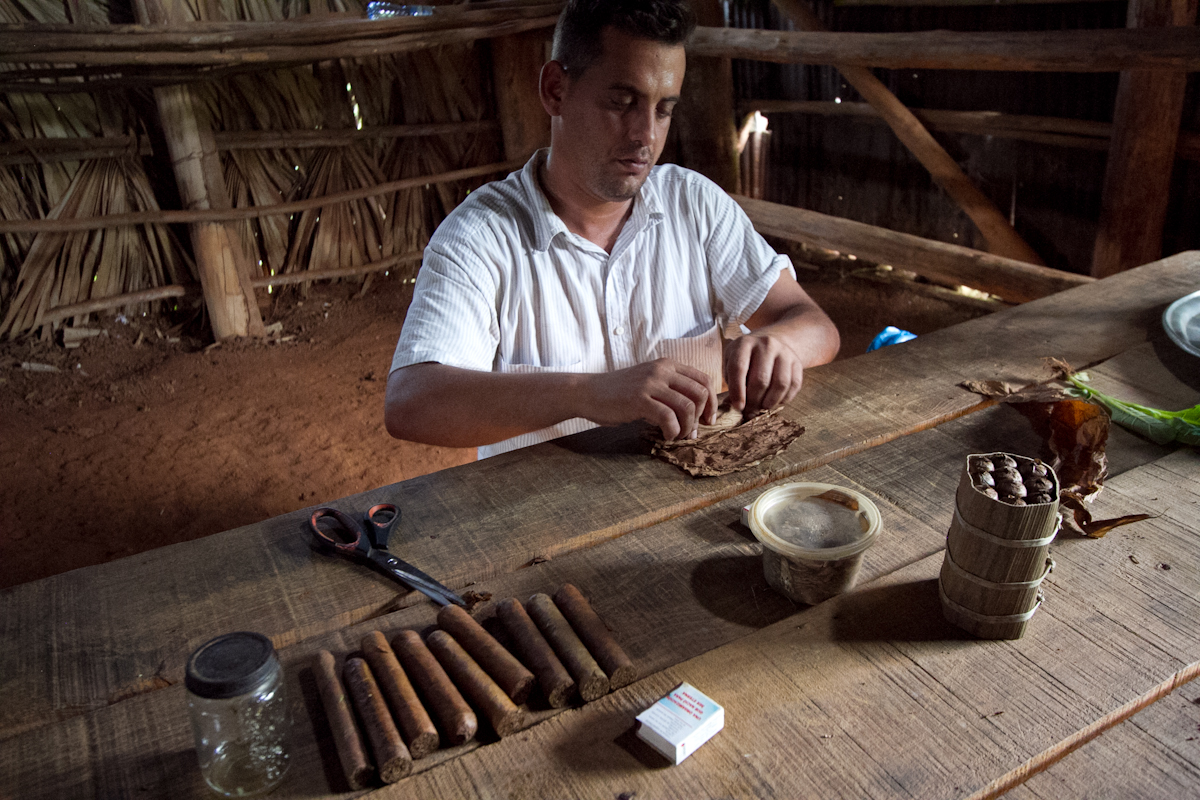 Cigar rolling demonstration, Vinales, Cuba