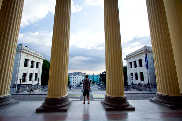 Teddy on the steps of the University of Havana