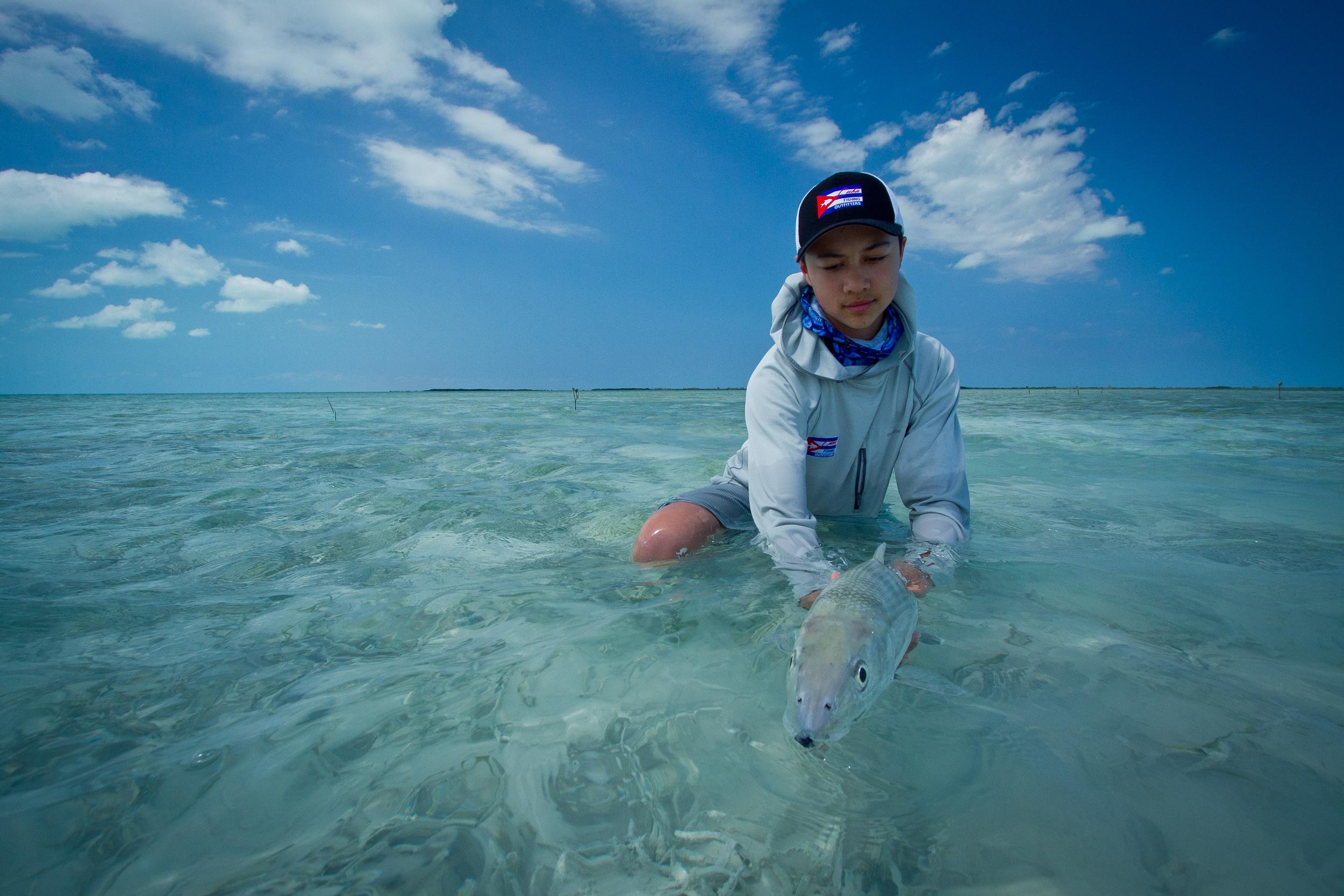 Teddy and a big Bonefish, Cayo Cruz, Cuba