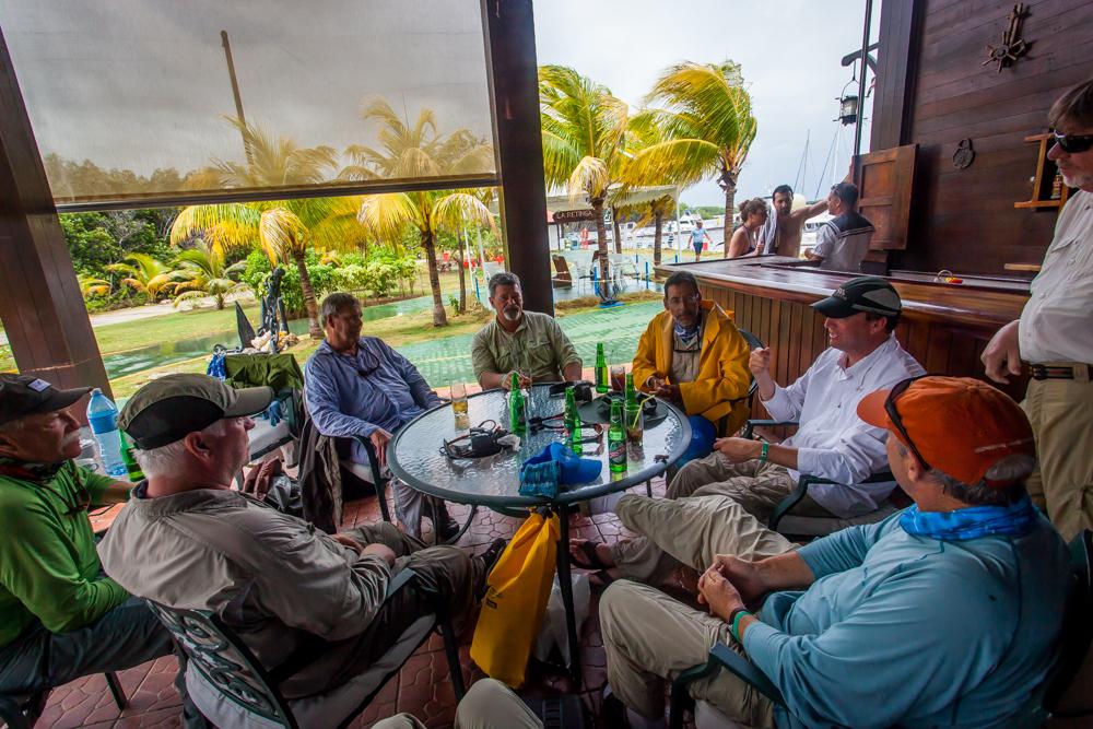 Group gets refreshed at the marina bar after fishing