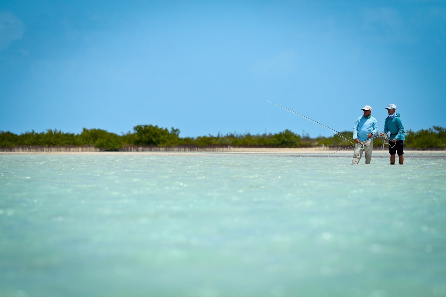 Greger and Rafael on some Bonefish in a massive flat in the interior flats of Cayo Cruz.