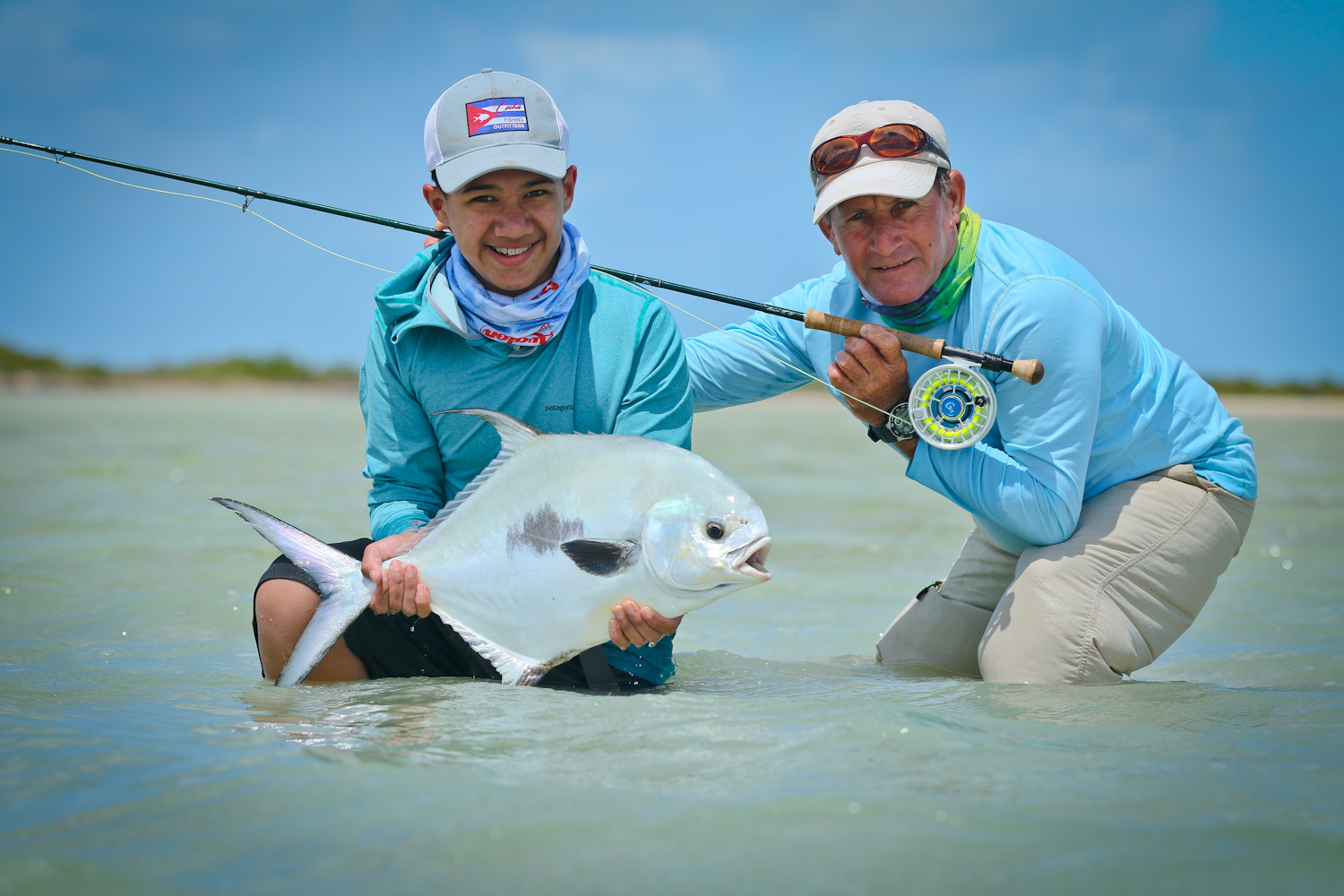 Greger and our guide Rafael with a Permit caught while wading. Greger's first of many I hope.....