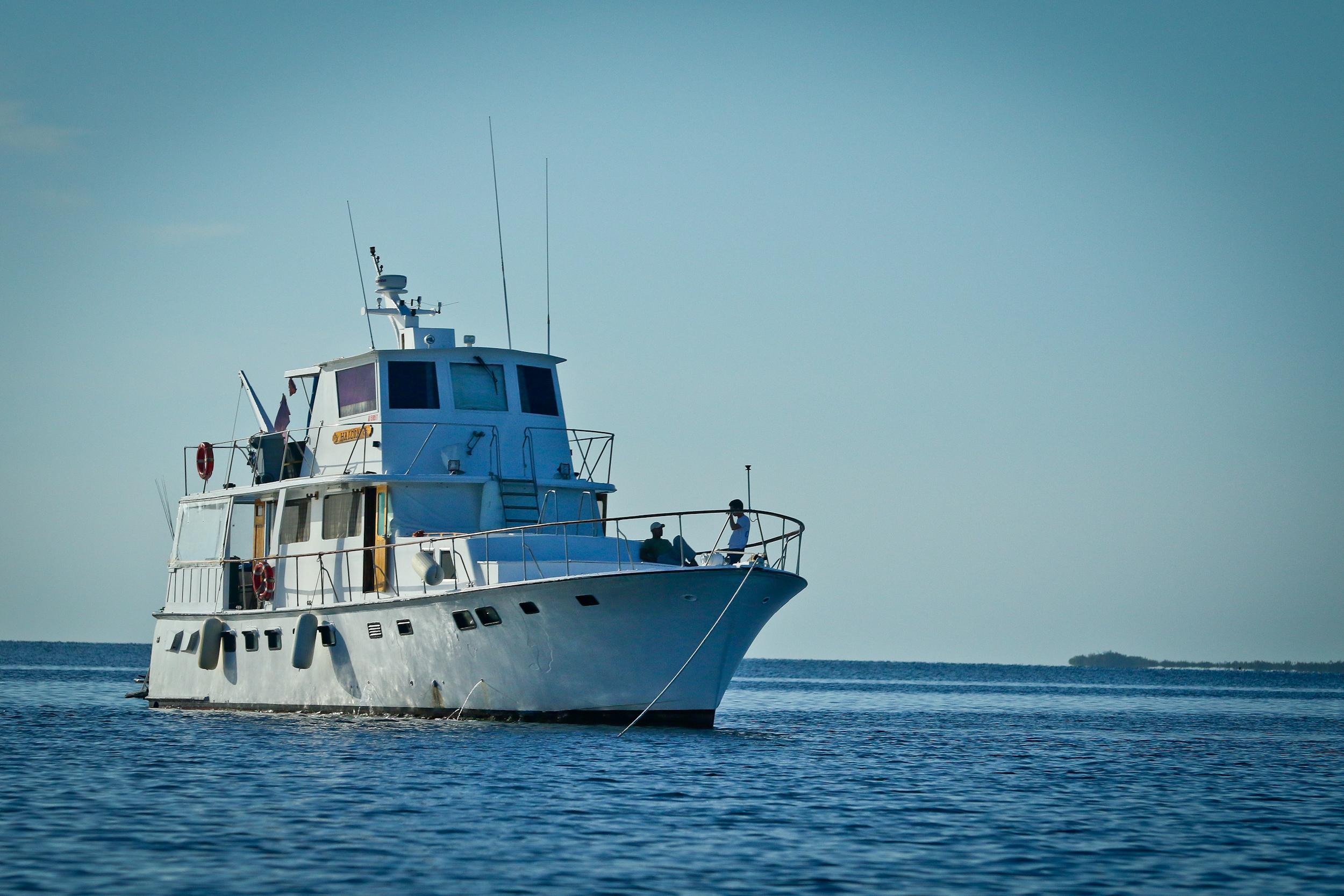 The yacht Halcon, at anchor in Jardines de la Reina.