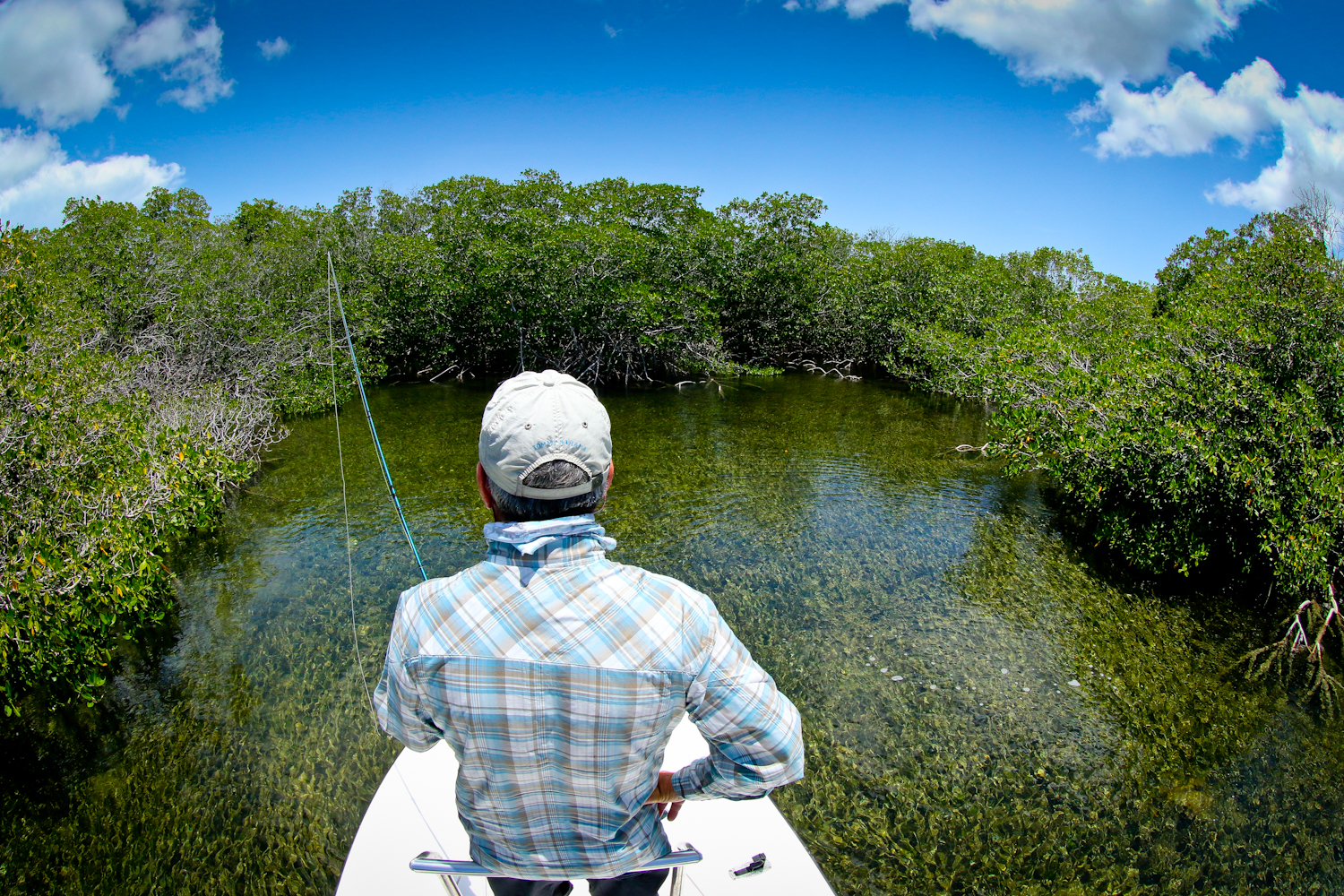 """Tim on the bow in """"Baby Tarpon"""" country."""