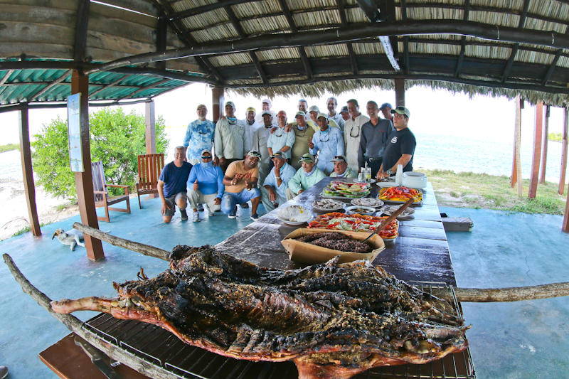 We were surprised by a pig roast in our honor after coming off the skiffs our last day. Here we are with staff, guides, and a few other guests.