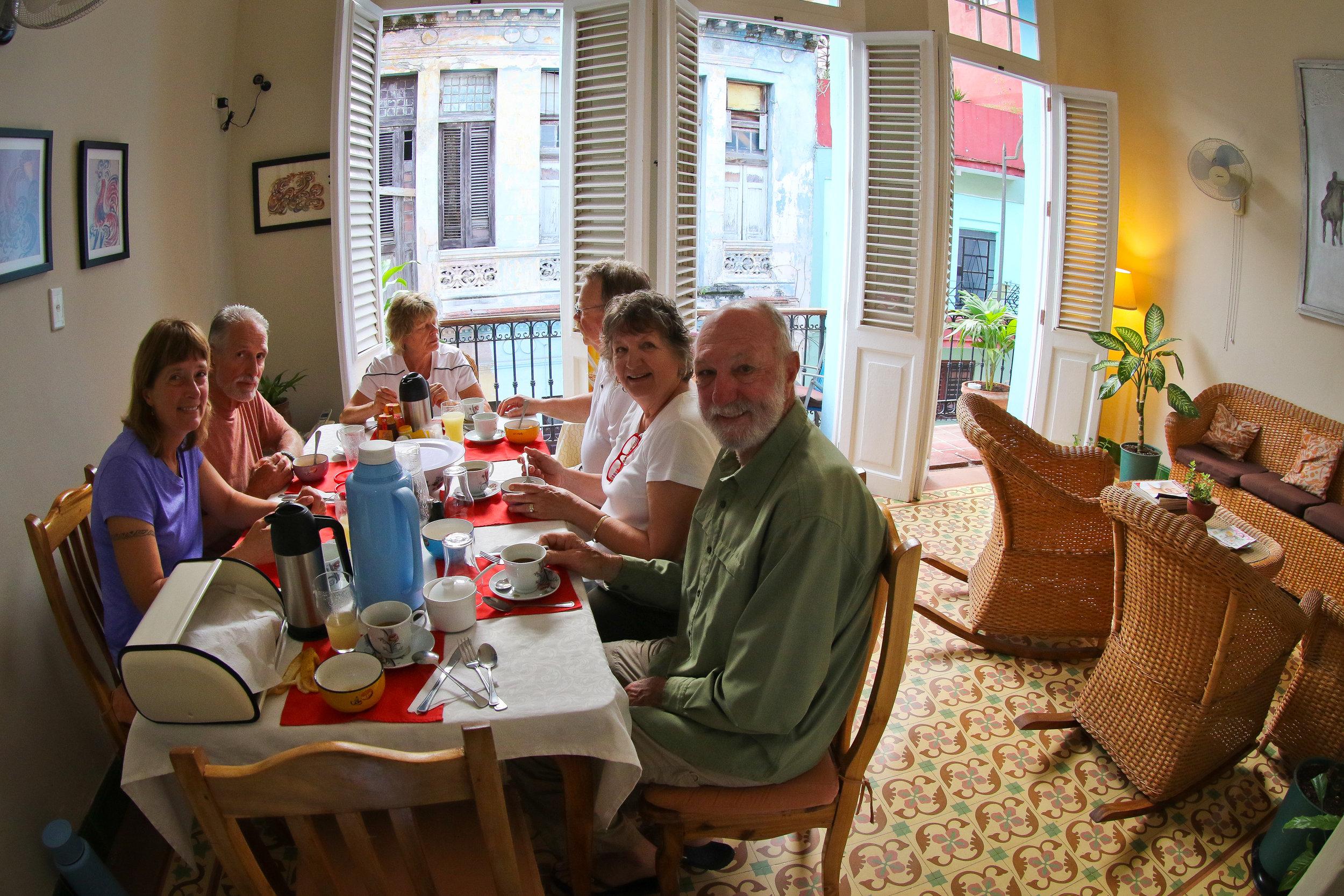 Breakfast at our casa in Havana