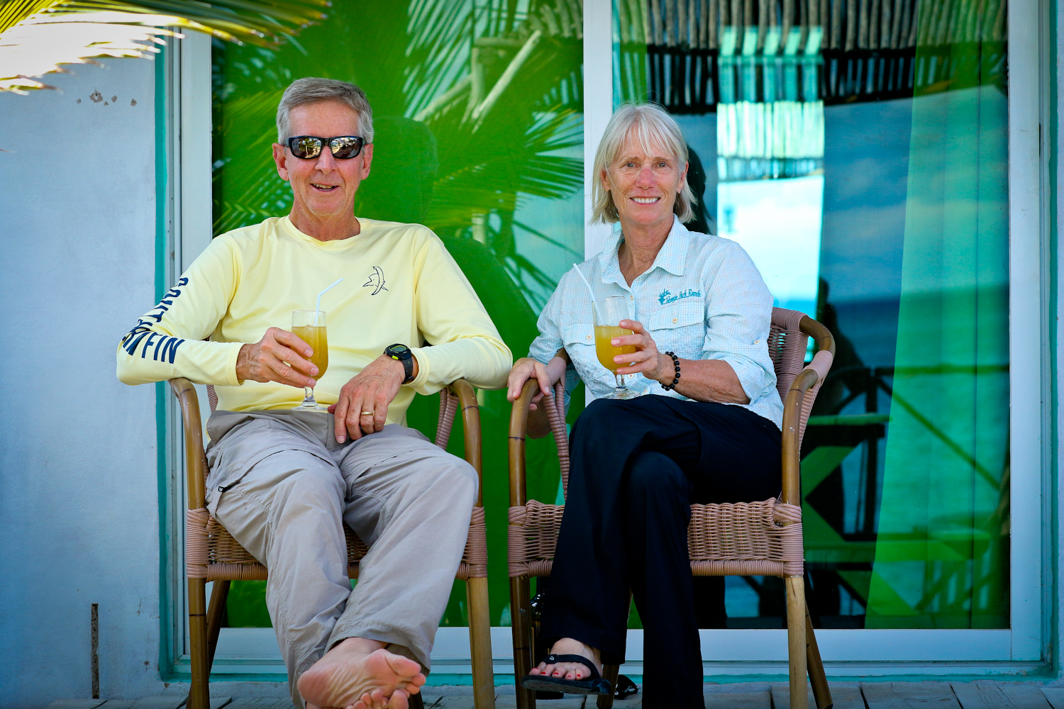 Guests enjoy a rum drink after fishing