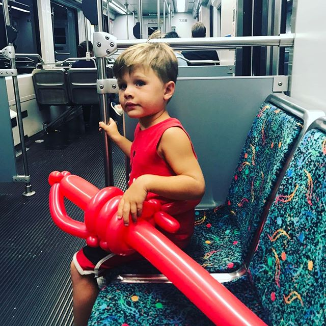 Even the #redpowerranger knows to go green and take #publictransportation #train #pasadena #mothersandsons