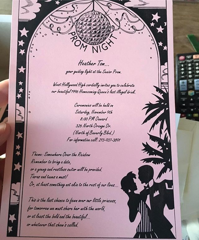 Ok- you're going to have to zoom in to read this- but this is my #prom invitation! I didn't go to my actual prom because I didn't go to actual high school- and most of my friends didn't go or certainly didn't go with the date of their choice- so I threw myself and my loves a prom of our own- far more fun- the last line is particularly  resonate... #Youchooseyourfamily #love