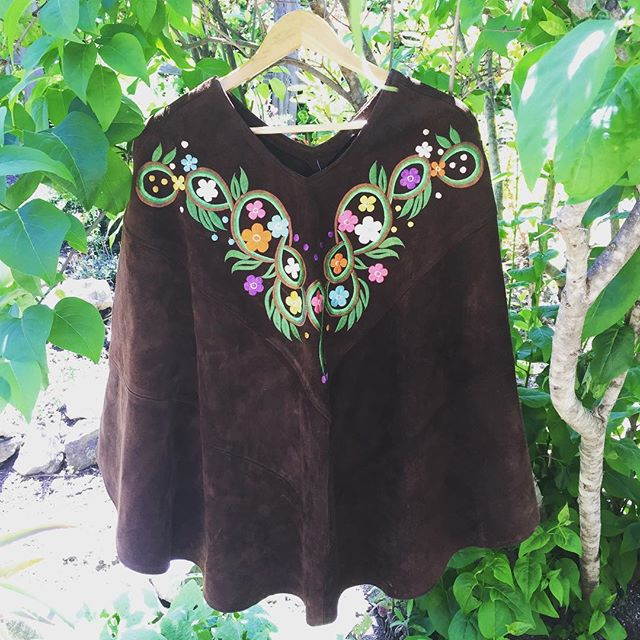 Catch a ride to the end of the highway, and we'll meet by the big red tree. This #vintage #suede #leather #embroidered #poncho is the perfect accessory when you're #GoingUpAroundTheBend. Just in time for #festival season. $78, won't last!