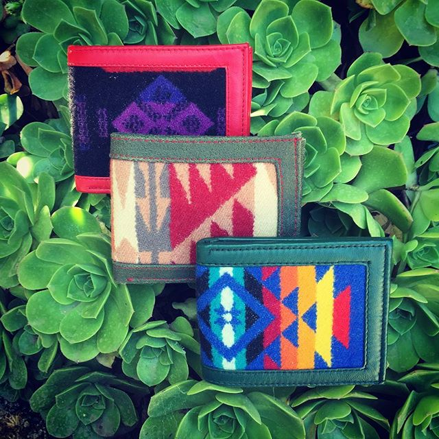 #Pendleton wool and #leather bifold @bigsurkiyote wallets are one-of-kind and designed right here in #BigSur. #BoldNotBoring #Upgrade #LocalFashion #WearSomeArt