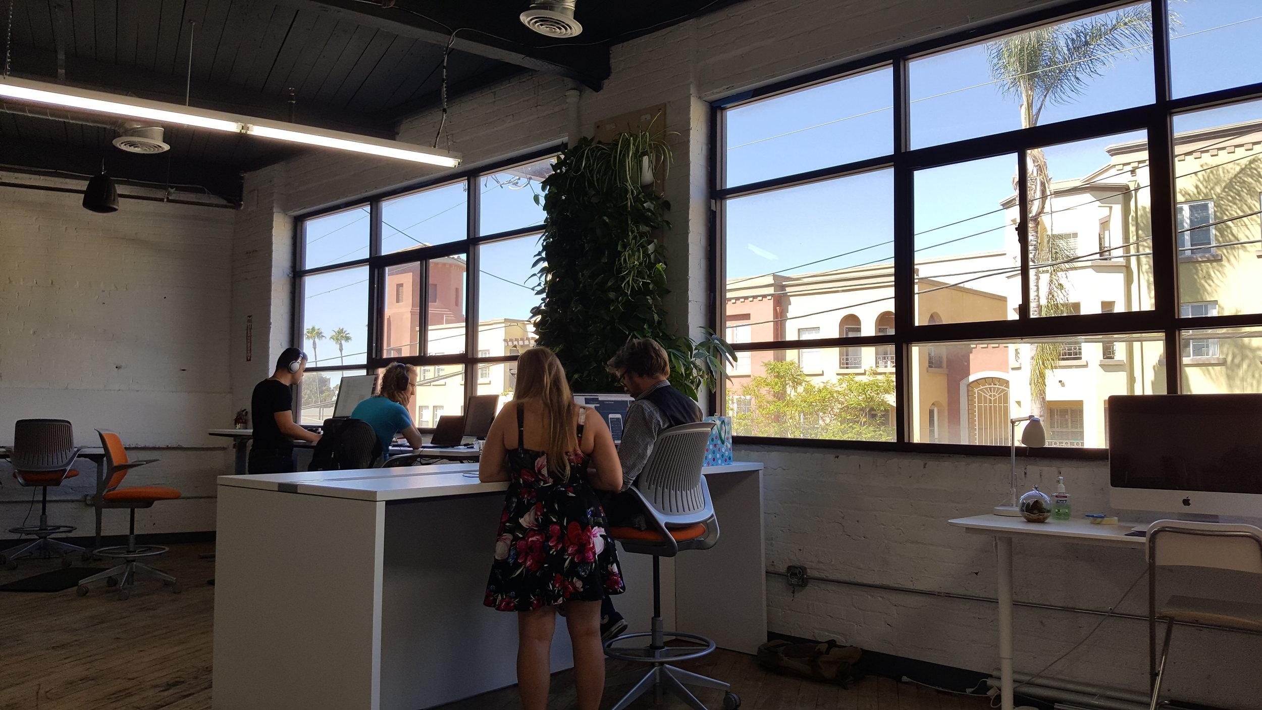 Stand-up desks and neighborhood views are an option.