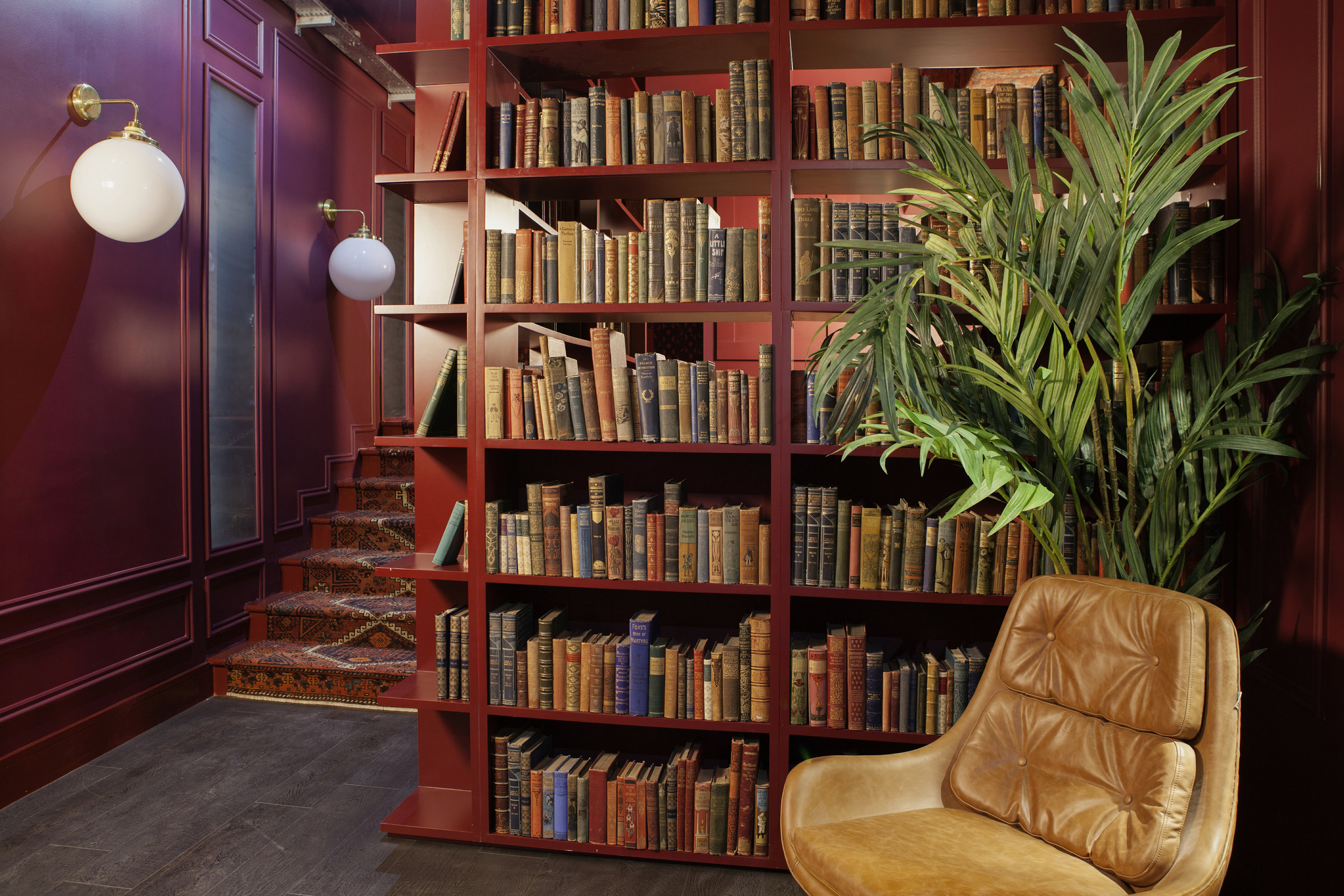 As chief curator for his spaces, which incorporate a lot of libraries, McGinley spends a lot of time sourcing vintage books from rare book dealers in London. The South Point library is a favorite for its whiskey selection.