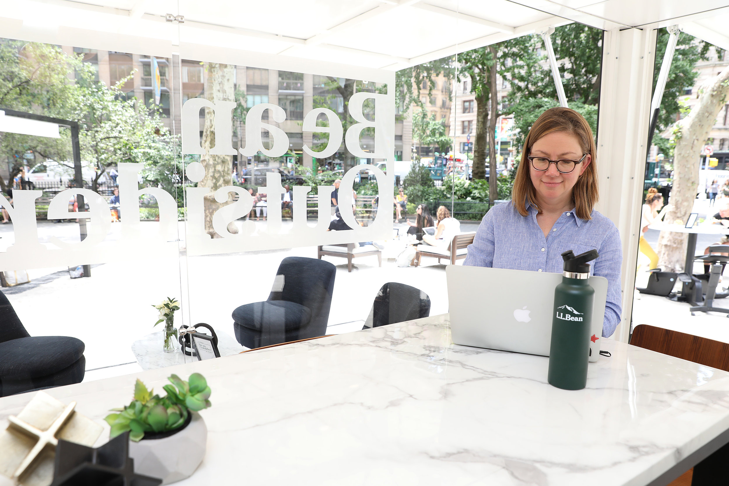 Workplace strategist and  Healthy Workplace  author Leigh Stringer partnered with L.L. Bean on the Be an Outsider at Work coworking popup.