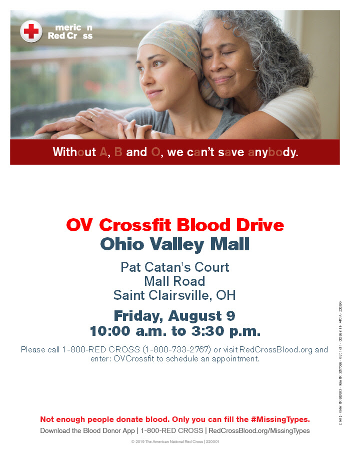 Don't forget, our annual American Red Cross blood drive is this Friday, August 9th from 10 am - 3:30 pm.  All members of OVC who participate will receive a free FitAId!