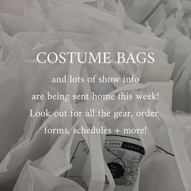 Make sure you check through all your costumes coming home this week! There's tons of info and forms in your performer packet + dancers all get a You Are Here show t-shirt! Tickets are in their bags too, but if you need additional tickets send us an email at info@creativeedgedancecenter.com ✨  If you miss bag pick up in class this week, stop by Saturday from 11am-1pm!