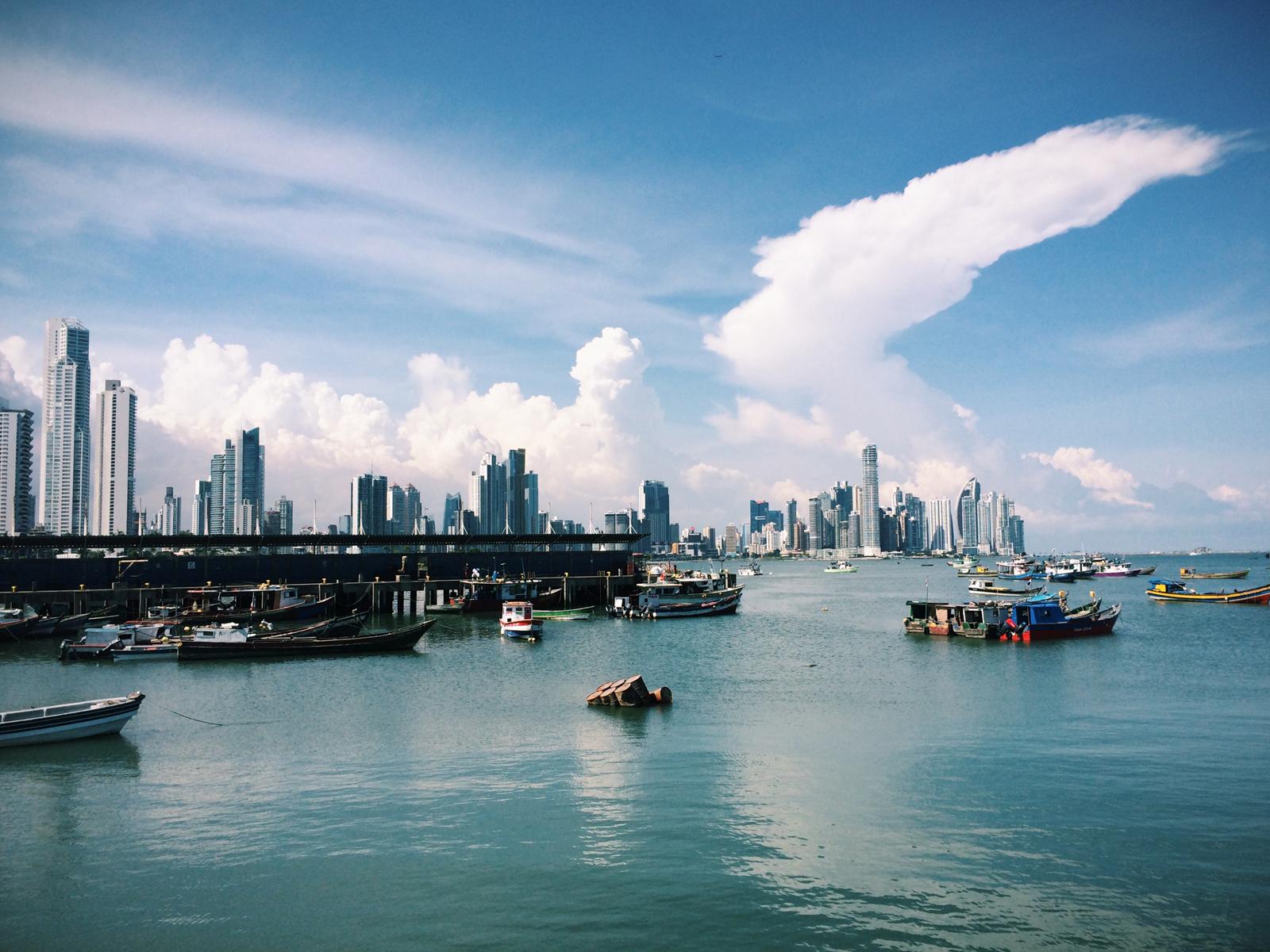 Fish market + Panama City skyline