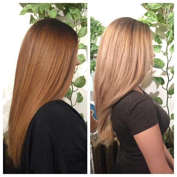 Step 2 + 3 of a 3 part colour correction by @mane__mami !This client started out with nearly black hair and wanted to go blonde. It took 3 sessions in order to maintain the integrity of the hair while lightening it, but well worth the wait! Final result is 🔥👌🏼. #colourcorrection#blonde#blacktoblonde#highlights#babylights#balayage#rootdrop#continuum#hairstylist#hair#yvr#beforeandafter