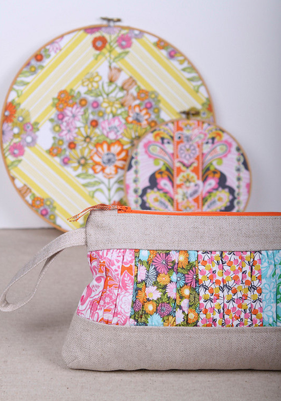 Natural Linen Wristlet Clutch created by LoveJill on Etsy using Josephine Kimberling's Field Day fabrics