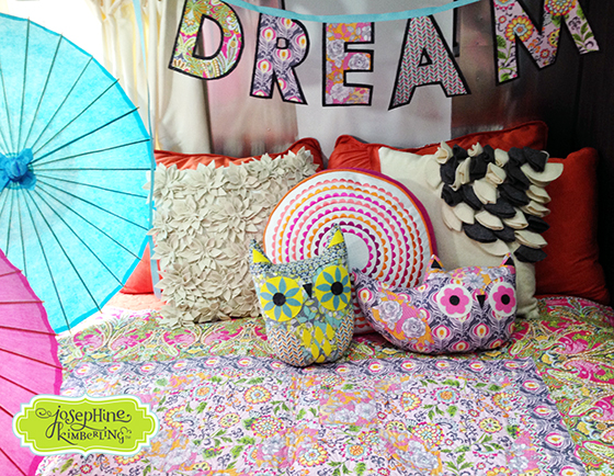 Owl pillows created by Josephine Kimberling and sewn from her 'Caravan Dreams' fabric collection with Blend Fabrics