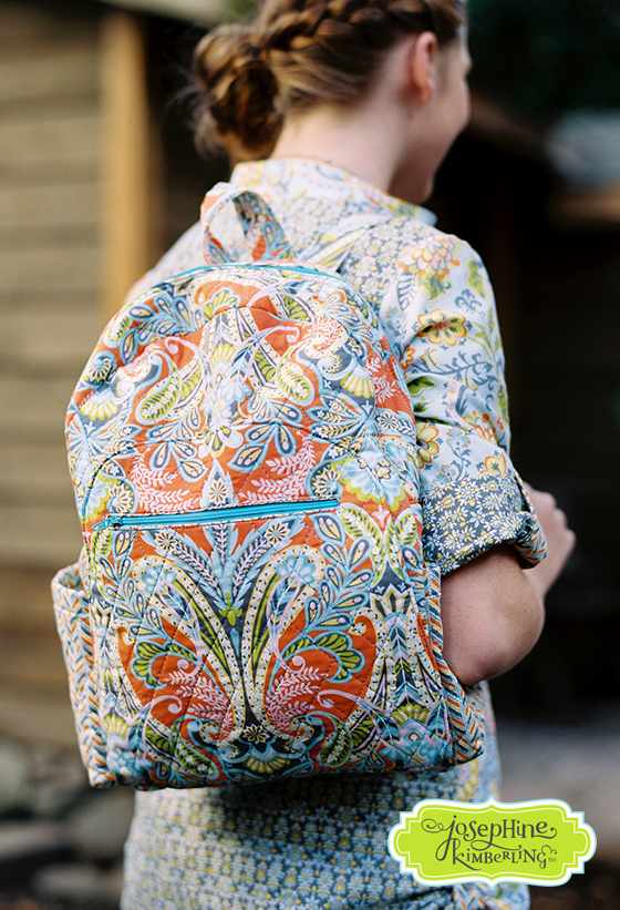Backpack designed and sewn by GJRDesigns on Etsy out of Josephine Kimberling's 'Caravan Dreams' fabric collection with Blend Fabrics