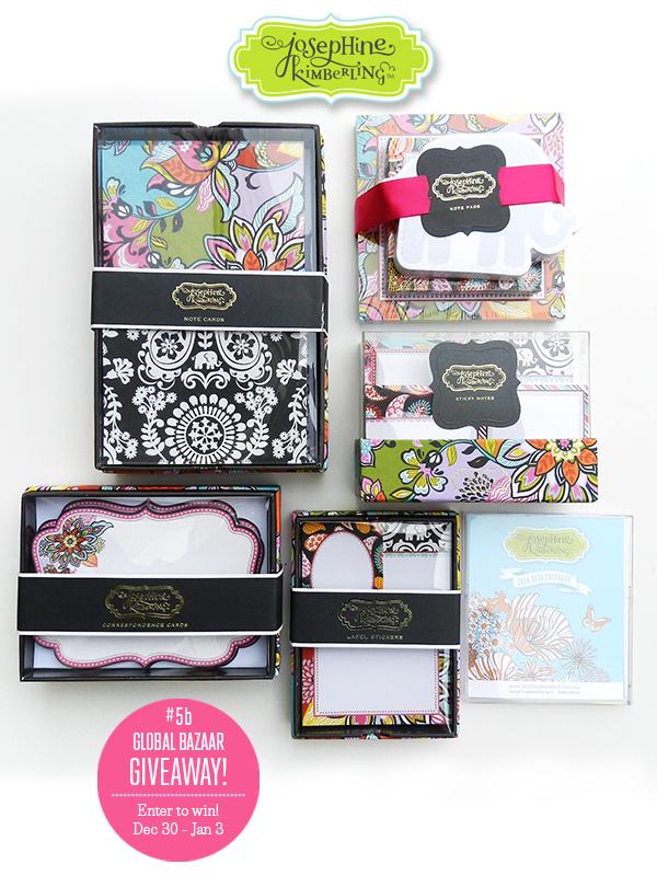 Josephine Kimberling is having a Giveaway each week in December! Swing by her blog to enter to win her Week 5 Global Bazaar Giveaway! Dec 30-Jan 3
