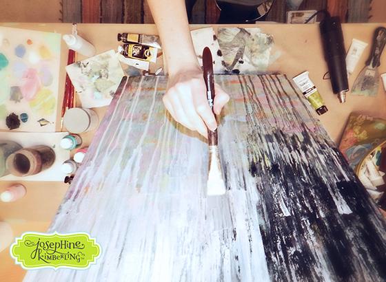 Josephine Kimberling painting in her studio