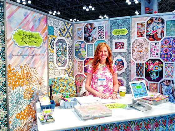 Josephine Kimberling in her booth at Surtex 2014